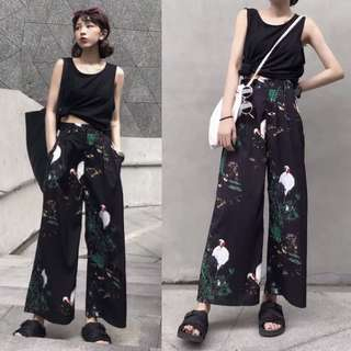 Retro wide leg pants female Hong Kong fashion street fashion pants