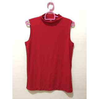 Uniqlo High Neck Red Top