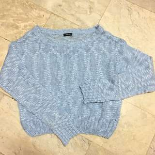 Pre-Loved Blue Knitted Pullover Crop Top