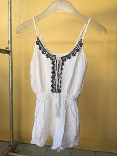 Bohemian White Romper with Embroidered Patterns