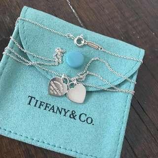 Authentic Tiffany & Co Double Mini Hearts Silver