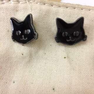TERRANOVA black cat earrings