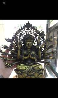 {FS138} 千手准提菩萨紫铜 black bronze sculpture of Thousand Arms