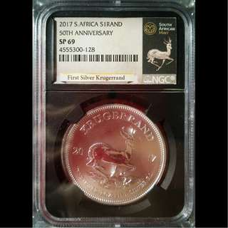 🚚 2017 South Africa Silver Krugerrand NGC SP69