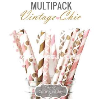 🚚 🍹25pc Party Disposable Vintage Chic Straws