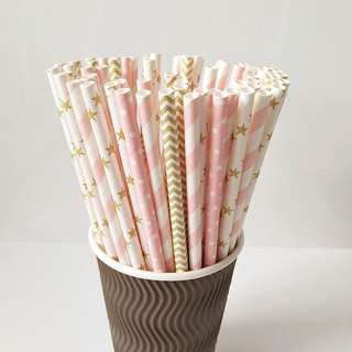 🚚 🍹25pc Party Paper Design Straw Perfectly Pretty