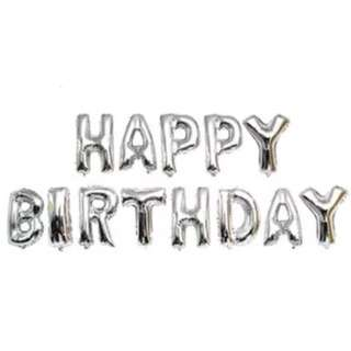 "🚚 🎂 16"" Happy Birthday Silver Foil Alphabet Balloon Bunting Banner"