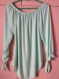 Mint green off-shoulder top/dress