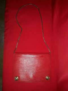 Chloe Vintage Red Epi Leather Chain Flap Bag Authentic