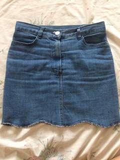Denim Skirt scallop cut
