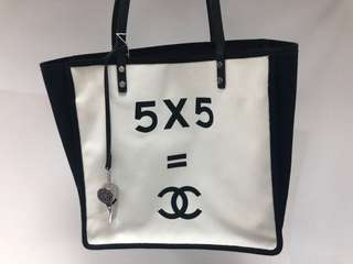 Chanel vintage黑白布袋 full set