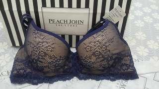 日本 Peach John Work職場蕾絲內衣 75C 藍色