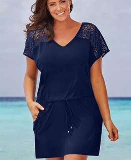 Plus size drawstring dress