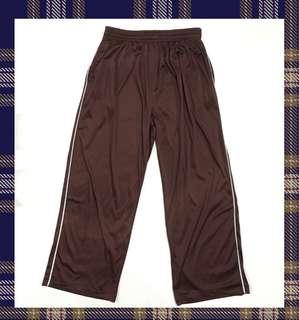 🚚 咖啡色緞面白線長褲