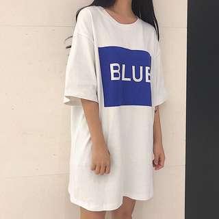 Blue 藍框簡約寬鬆上衣