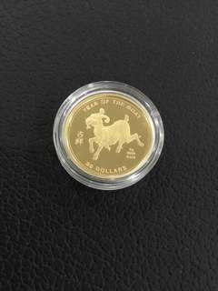Cook Islands 2003 year of Goat gold coin
