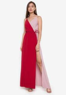 red and pink maxi wrap dress with slit