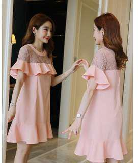 Pink Lace Nursing Dress