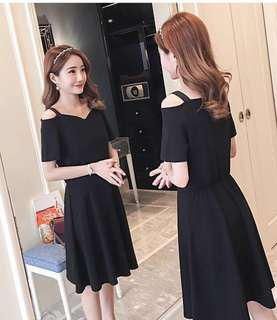 Black Off Shoulder Nursing Dress