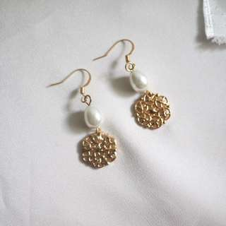 S925 pearl cut out disc drop earrings 耳環 珍珠