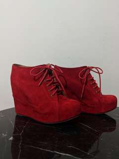 JEFFREY CAMPBELL ALAMODE RED SUEDE PLATFORM BOOTS