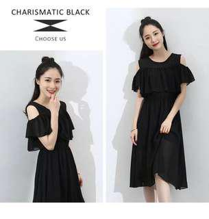 Black Chiffon Nursing Dress