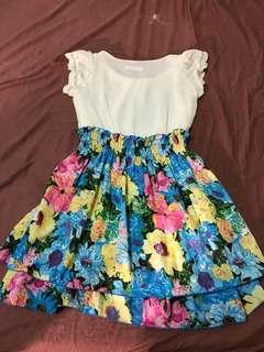 🚚 正韓貨 the rose白色雪紡蕾絲洋裝百花裙擺 夏日海邊必備 夏威夷風洋裝 made in Korea