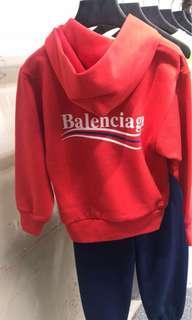 全新 巴黎世家 balenciaga logo 紅色hoodie size 10y