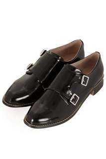 Topshop Fleetwood Monk shoes in Black