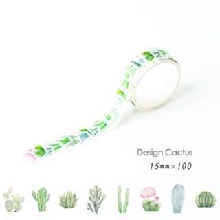 ☙🖃 📝 [PREORDER] Themed Diary Cactus Decoration Washi Tape Stickers [100 inserts]