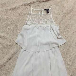 Forever 21 White Crochet Summer Dress Size S