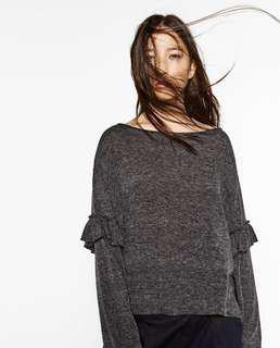 Zara ruffled sleeves sweater