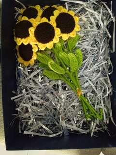 Sunflower crochet bouquet