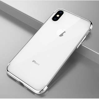 Silver  Simple Transparent Elegant Soft iPhone Case