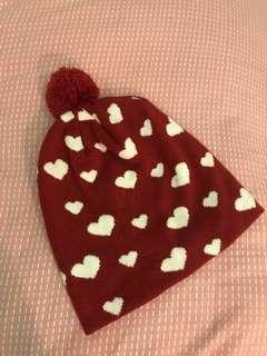 Dark red heart bonet