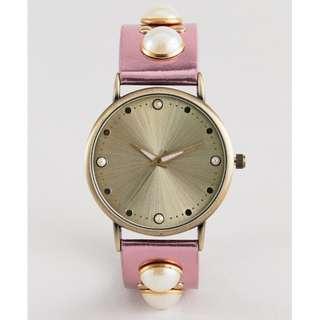 [歐美直送包郵] 金屬感X珍珠錶帶 女裝手錶 Metallic Pearl Embellished Watch