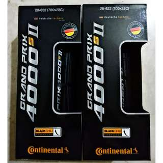 (FREE Registered Mailing & Price Dropped) Pair of 28C Continental Grand Prix GP 4000S II Folding Road Tires Tyres (GP4000, GP4000S)