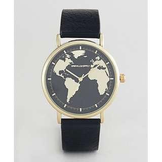 [歐洲直送包郵] 黑金復古地圖 手錶 Vintage Style Map Print Watch