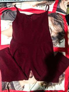 Plus Size Maroon Romper pants