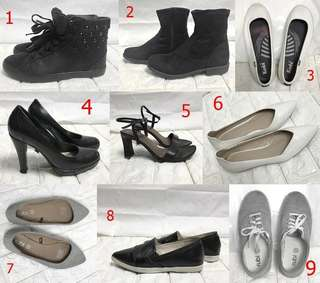 Bundle 9 Pairs Sneakers Flats Boots Pumps Sandals 35 36