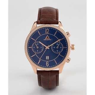 [歐洲直送包郵] 經典款藍X金錶面X皮錶帶 男裝手錶 Classic Watch With Contrast Navy Dial