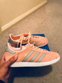 Grey & Pink Adidas Gazelle. Size 8