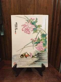 中國景德鎮手繪粉彩花鳥瓷片(壬戍)