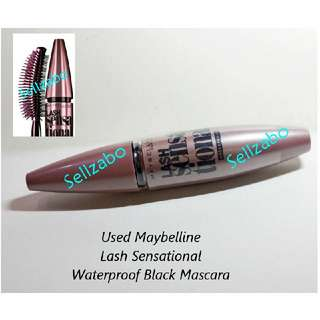 Used Maybelline Volume Waterproof Black Mascara Lash Sensational Makeup Long Eyelash Lashes Eyelashes Cosmetics