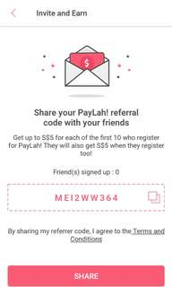 Free SGD$5! Download DBS PayLah app & enter promo code as shown in photo