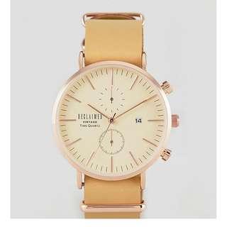 [歐洲直送包郵] Reclaimed Vintage Inspired 文青簡約皮錶帶手錶 Chronograph Leather & Canvas Interchangable Watch