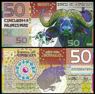 2009年 澳洲牛年生肖塑膠鈔 坎培拉銀行 50元 全新直版 隨機發號