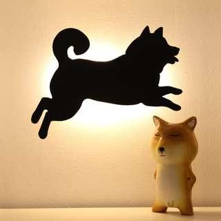 感應燈 和風日式黑貓 貓咪柴犬剪影燈 拍拍燈 送鈴鐺項圈