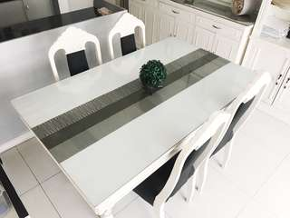 6-SEATER FRENCH WHITE NARRA DINING TABLE
