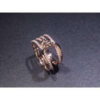 18K玫瑰金扭結密鑲鑽石戒指